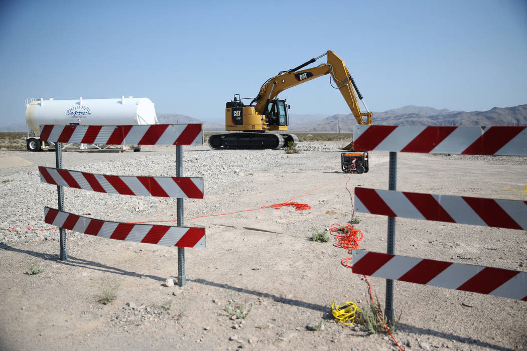 Construction equipment sits at the site of a water pipeline project to supply industrial development at Apex in North Las Vegas, Tuesday, July 31, 2018. Erik Verduzco Las Vegas Review-Journal @Eri ...