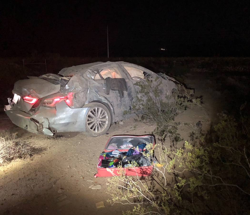 A man and woman died late Friday, July 27,2018, after the car they were in was involved in a rollover crash on Interstate 15 near Primm. (Nevada Highway Patrol)