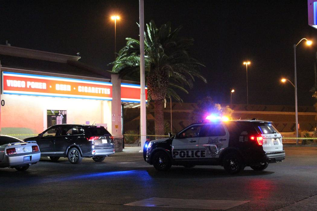 Las Vegas police on Tuesday, July 31, 2018, blocked off a portion of the Chevron gas station on the corner of Rancho Drive and Bonanza Road as they investigated a shooting involving an Uber car. ( ...