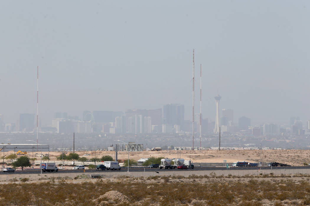 The Las Vegas Strip from North Las Vegas, Tuesday, July 31, 2018. Smoke from wildfires in California and Arizona are affecting the air quality the in Las Vegas Valley. (Erik Verduzco/Las Vegas Rev ...