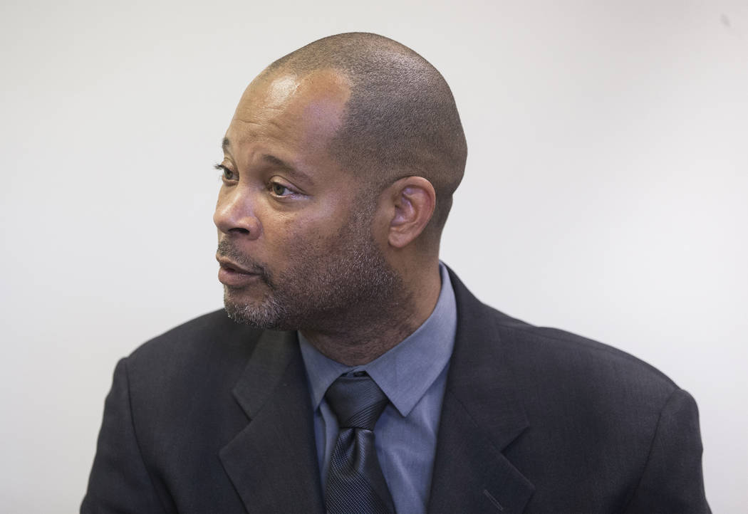 Nevada Senate Majority Leader Aaron Ford, the Democratic candidate for state attorney general, discusses the circumstances of his past arrests on Friday, July 27, 2018, at the Clark County Democra ...