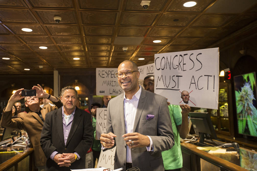 Senate Majority Leader Aaron Ford, D-Las Vegas, speaks to the press in response to Jeff Sessions' move to lift an Obama-era policy that provided protections that allowed marijuana businesses to f ...
