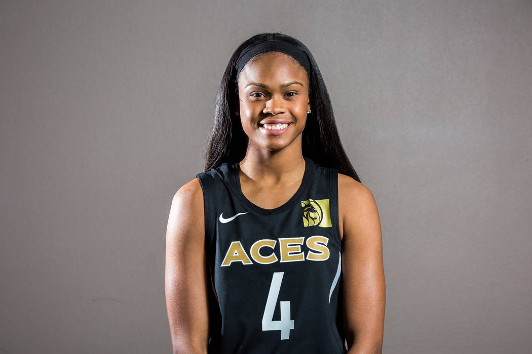 Las Vegas Aces guard Moriah Jefferson during the Aces media day at MGM Grand in Las Vegas on Thursday, May 3, 2018. Patrick Connolly Las Vegas Review-Journal @PConnPie