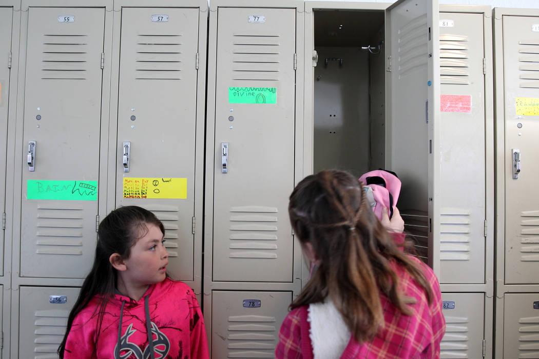Gabbs schools students Devine Standart, 8, left, and Sierra Mckinnon, 9, prepare for recess Monday, April, 9, 2018. K.M. Cannon Las Vegas Review-Journal @KMCannonPhoto