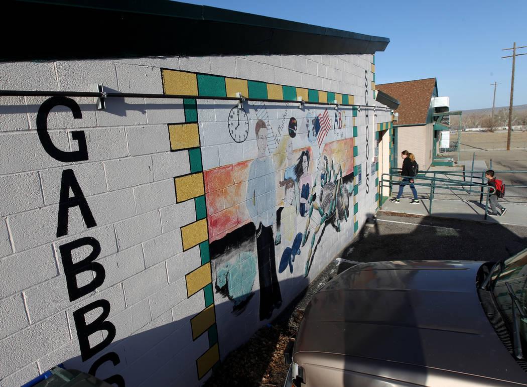 Gabbs schools students arrive Monday, April, 9, 2018. K.M. Cannon Las Vegas Review-Journal @KMCannonPhoto