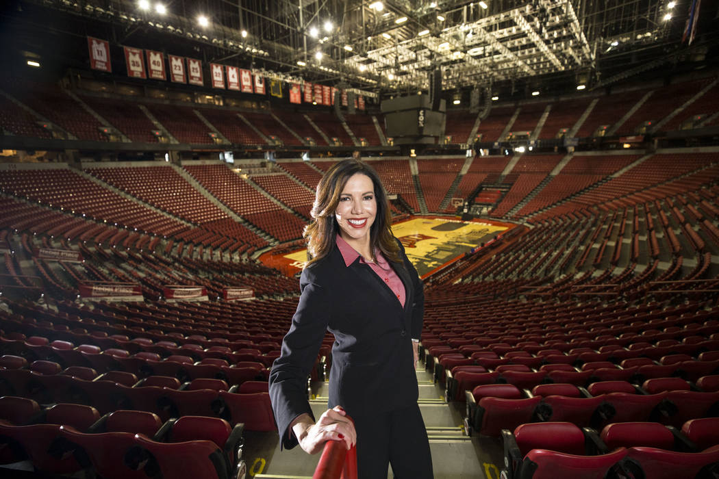 UNLV's athletic director Desiree Reed-Francois poses at the Thomas & Mack Center on Thursday, Nov. 30, 2017. Richard Brian Las Vegas Review-Journal @vegasphotograph