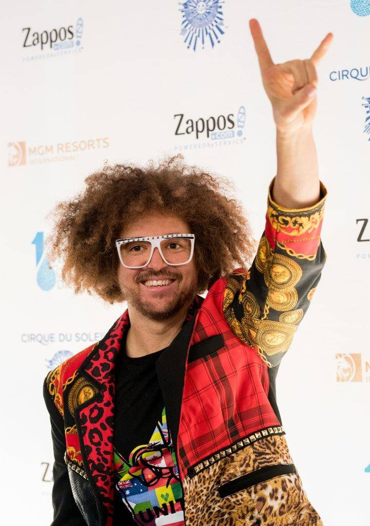 "Redfoo arrives on the blue carpet for the fifth-annual ""One Night for One Drop"" by Cirque du Soleil at ""Zumanity"" Theater at New York-New York on Friday, March 3, 2017, in Las Vegas. (Tom Donoghue)"