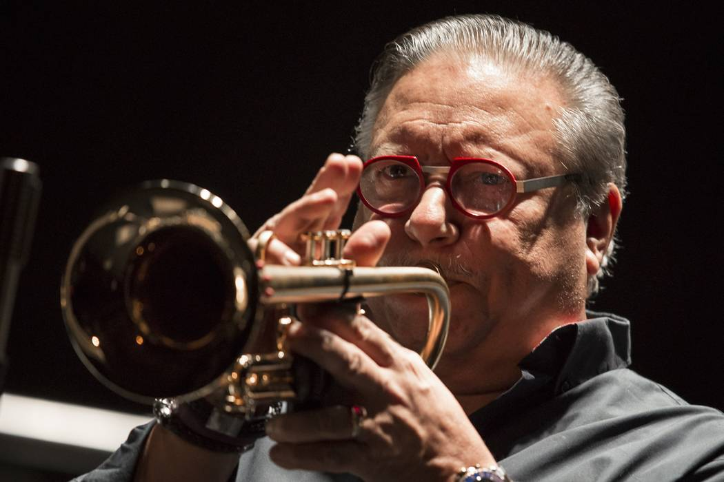 Cuban jazz player Arturo Sandoval plays during a concert in Moscow, Russia, Monday, Feb. 27, 2017. AP Photo/Alexander Zemlianichenko)