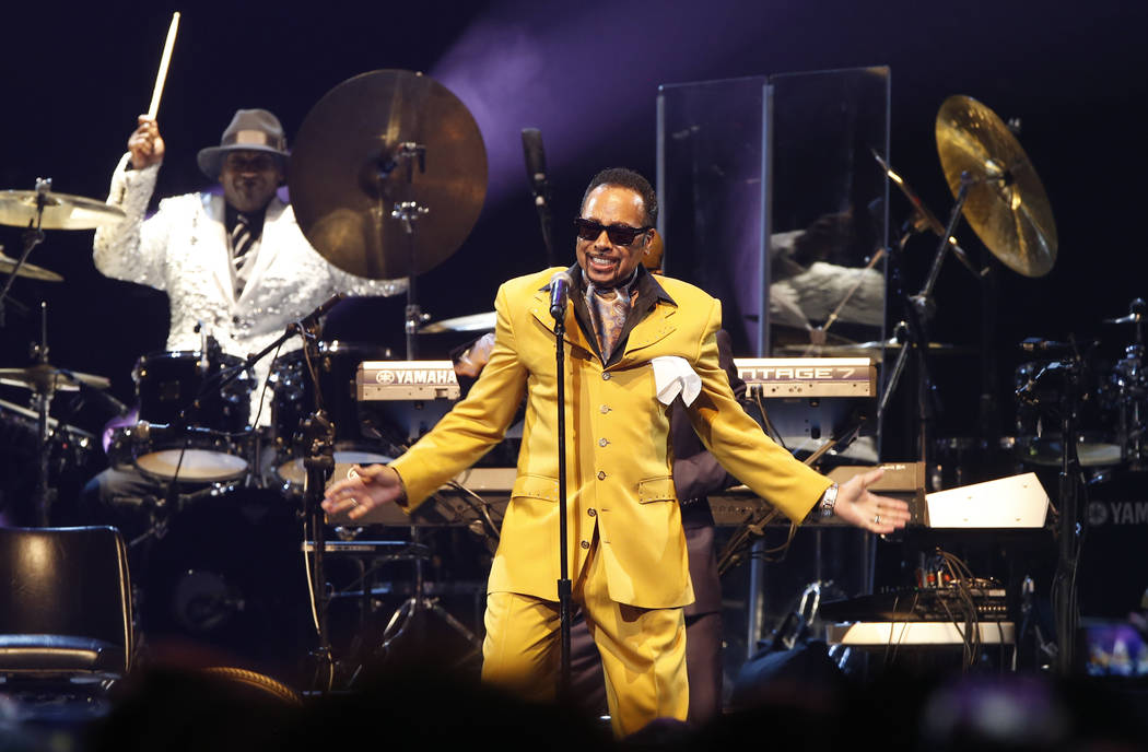 Morris Day performs during a tribute concert honoring the late musician Prince at Xcel Arena, Thursday, Oct. 13, 2016, in St. Paul, Minn. Prince died in April of accidental overdose. (AP Photo/Jim ...