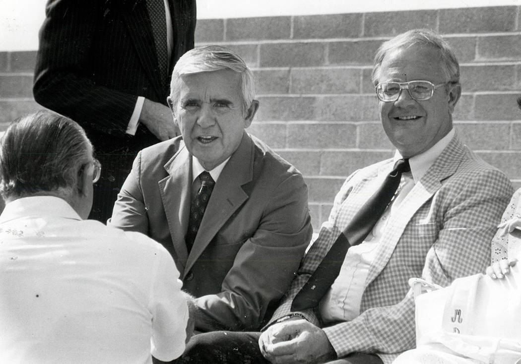 Paul Laxalt September 9, 1983 Paul Laxalt and Bob Broadbent (Scott Henry/Las Vegas Review-Journal )