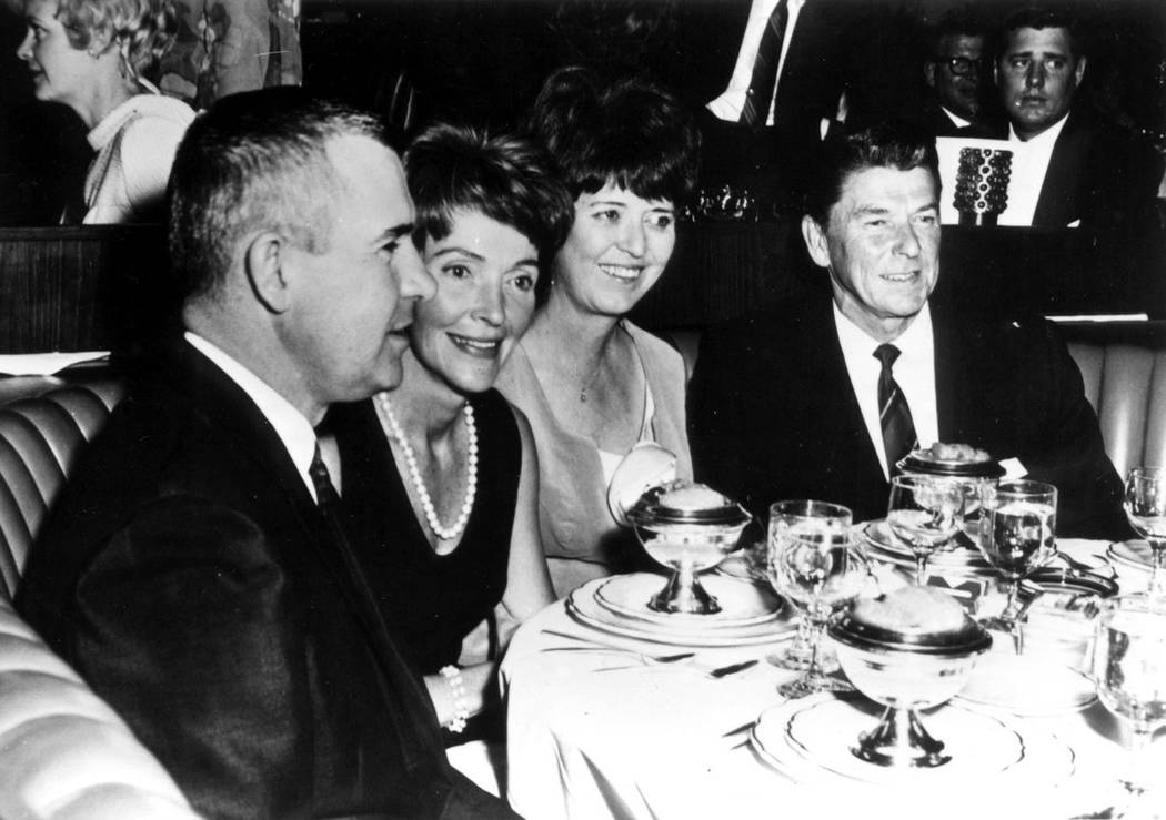 Ronald Reagan and wife Nancy with Nev. Governor Paul Laxalt and wife Jackie at Lake Tahoe in 1966. (Nevada State Museum)