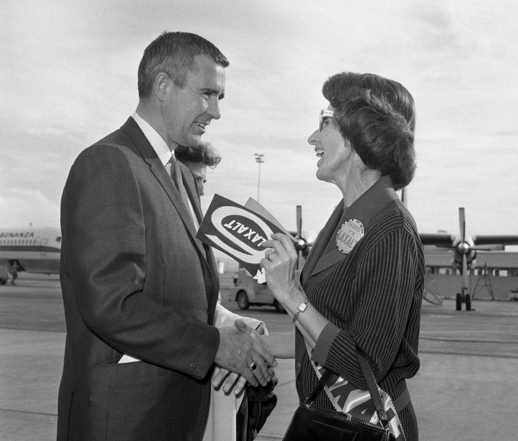 """Governor Paul Laxalt is greeted by about 100 women in the """"Lassies for Laxalt"""" election organization as he arrives at McCarran International Airport in 1966. (Las Vegas Review-Journal file photo)"""