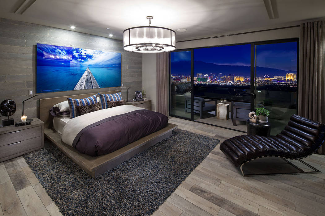 The master bedroom has a balcony that over looks the Las Vegas Strip. (Christopher Homes)