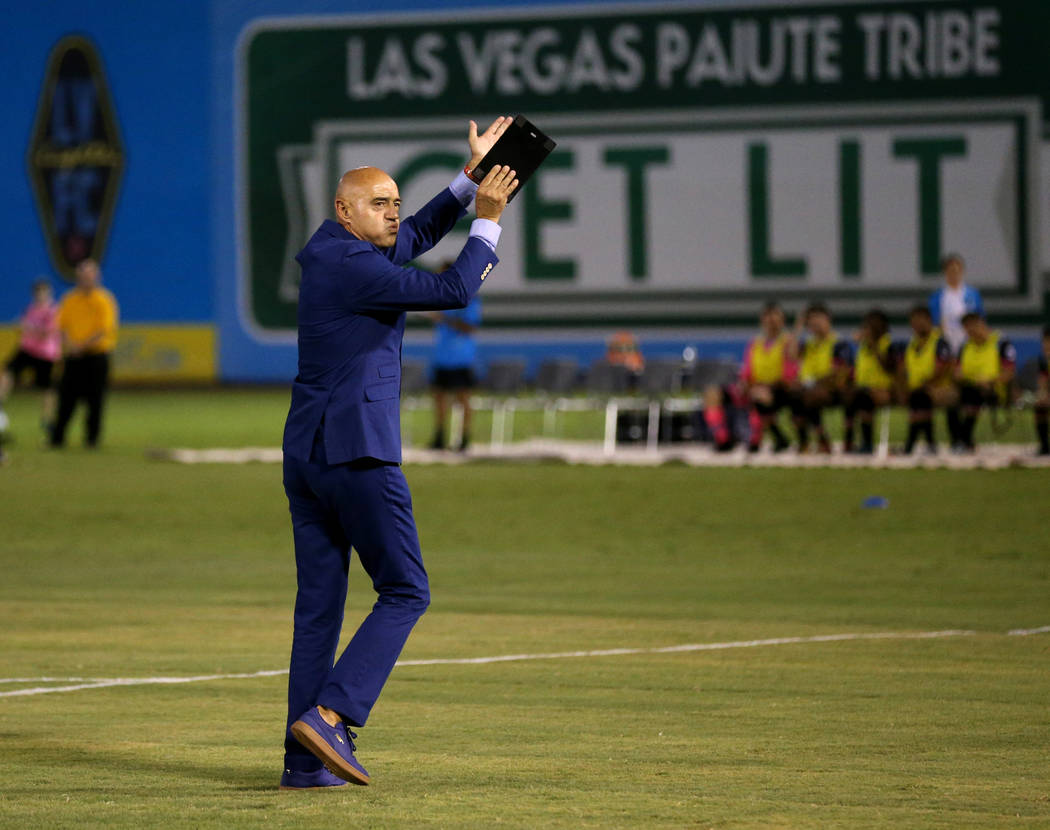 Lights FC technical director Jose Luis Sanchez Sola fires up the crowd before taking on Rio Grande Valley FC in a soccer game at Cashman Field in Las Vegas on Saturday, Aug. 4, 2018. K.M. Cannon L ...