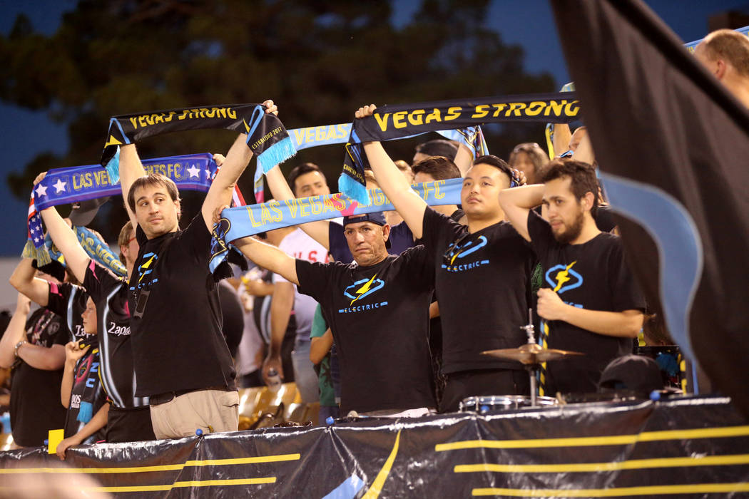 Lights FC fans before their team takes on Rio Grande Valley FC in a soccer game at Cashman Field in Las Vegas on Saturday, Aug. 4, 2018. K.M. Cannon Las Vegas Review-Journal @KMCannonPhoto