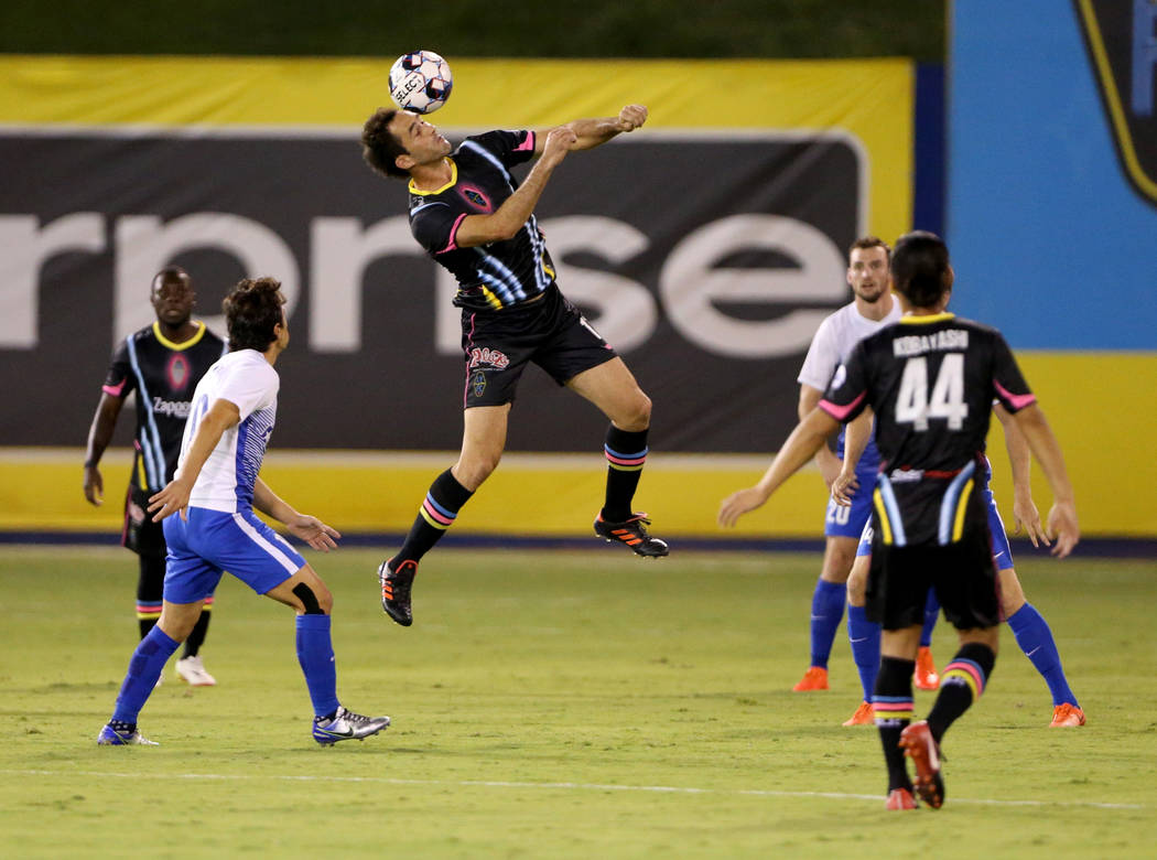 Las Vegas Lights FC forward Juan Carlos Garc'a (17) heads the ball in the first half of a soccer game at Cashman Field in Las Vegas on Saturday, Aug. 4, 2018. K.M. Cannon Las Vegas Review-J ...
