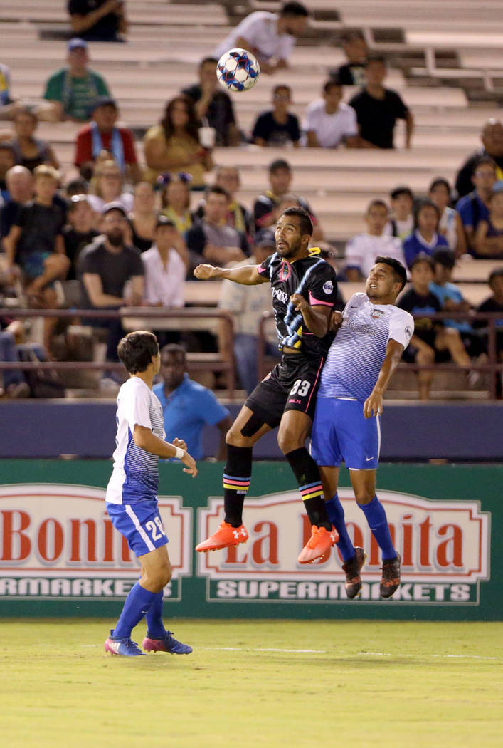 Las Vegas Lights FC defender Miguel Gardu–o (33) goes up for the ball in the first half of a soccer game at Cashman Field in Las Vegas on Saturday, Aug. 4, 2018. K.M. Cannon Las Vegas Revie ...
