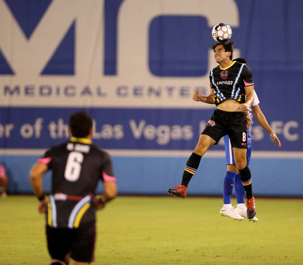 Las Vegas Lights FC forward Omar Salgado (8) heads the ball in the first half of a soccer game at Cashman Field in Las Vegas on Saturday, Aug. 4, 2018. K.M. Cannon Las Vegas Review-Journal @KMCann ...