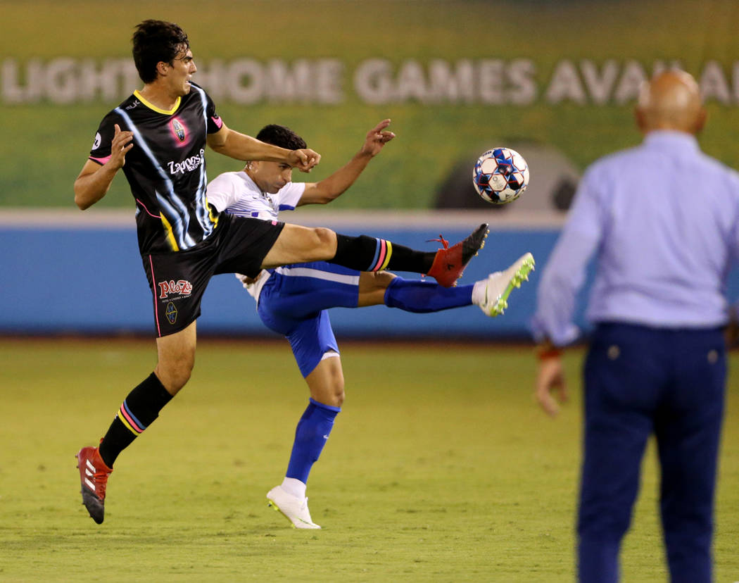 Las Vegas Lights FC forward Omar Salgado (8) battles for the ball in the first half of a soccer game at Cashman Field in Las Vegas on Saturday, Aug. 4, 2018. K.M. Cannon Las Vegas Review-Journal @ ...