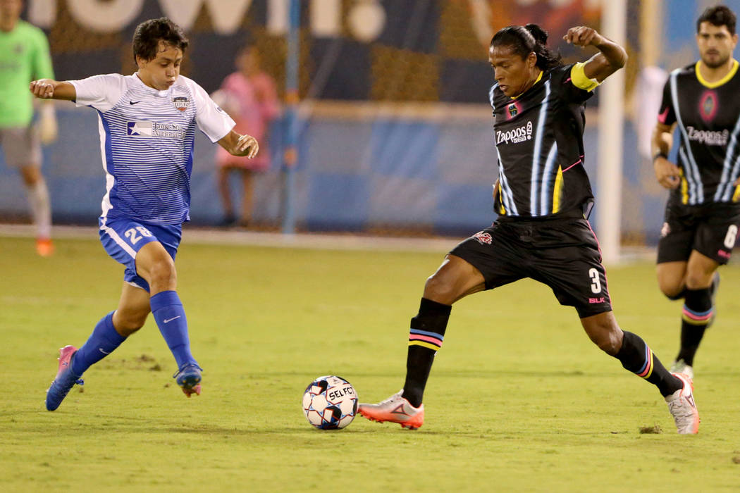 Las Vegas Lights FC defender Joel Huiqui (3) moves the ball in the first half of a soccer game at Cashman Field in Las Vegas on Saturday, Aug. 4, 2018. K.M. Cannon Las Vegas Review-Journal @KMCann ...