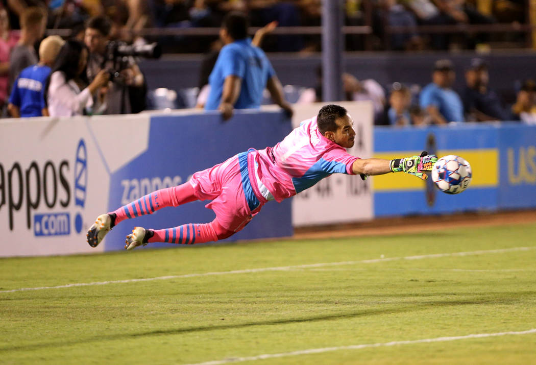 Las Vegas Lights FC goalkeeper Ricardo Ferri–o (1) blocks a shot in the first half of a soccer game at Cashman Field in Las Vegas on Saturday, Aug. 4, 2018. K.M. Cannon Las Vegas Review-Jou ...