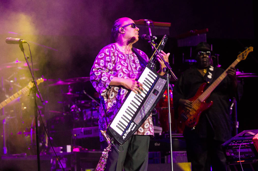 Stevie Wonder performs during the Life is Beautiful festival in downtown Las Vegas on Friday, Sept. 25, 2015. Chase Stevens/Las Vegas Review-Journal Follow @csstevensphoto