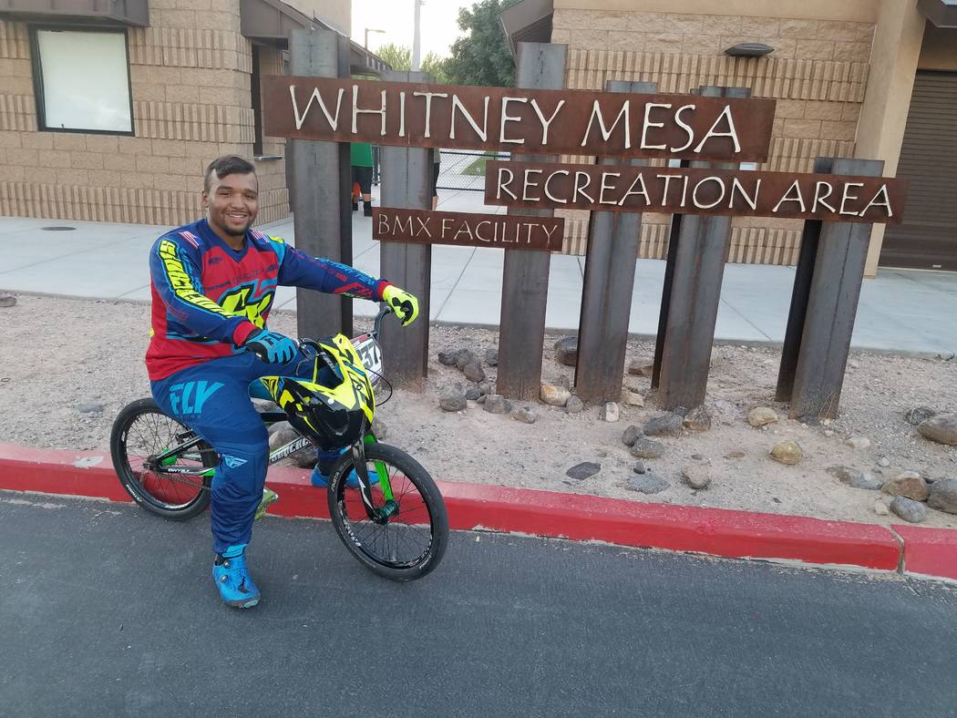 Makieva Hopson, 20, says one of his goals is to compete in BMX at the Olympics. (Heidi Knapp Rinella/Las Vegas Review-Journal)