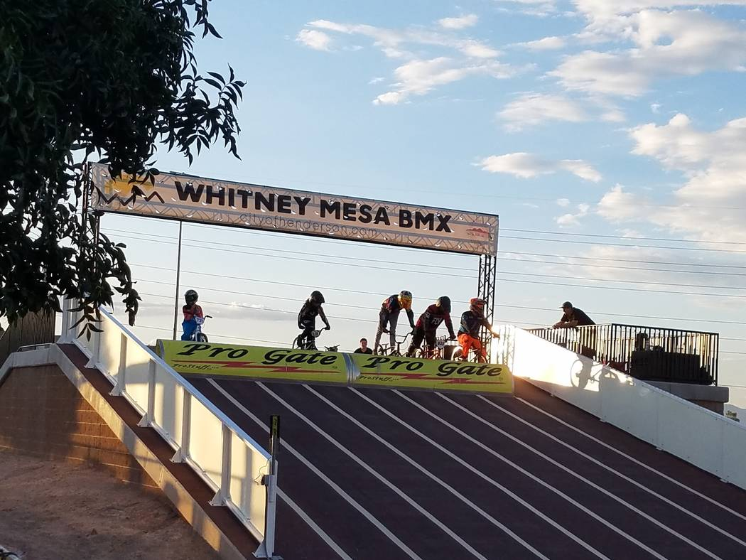 Riders line up at the Whitney Mesa Recreation Area BMX Facility. (Heidi Knapp Rinella/Las Vegas Review-Journal)