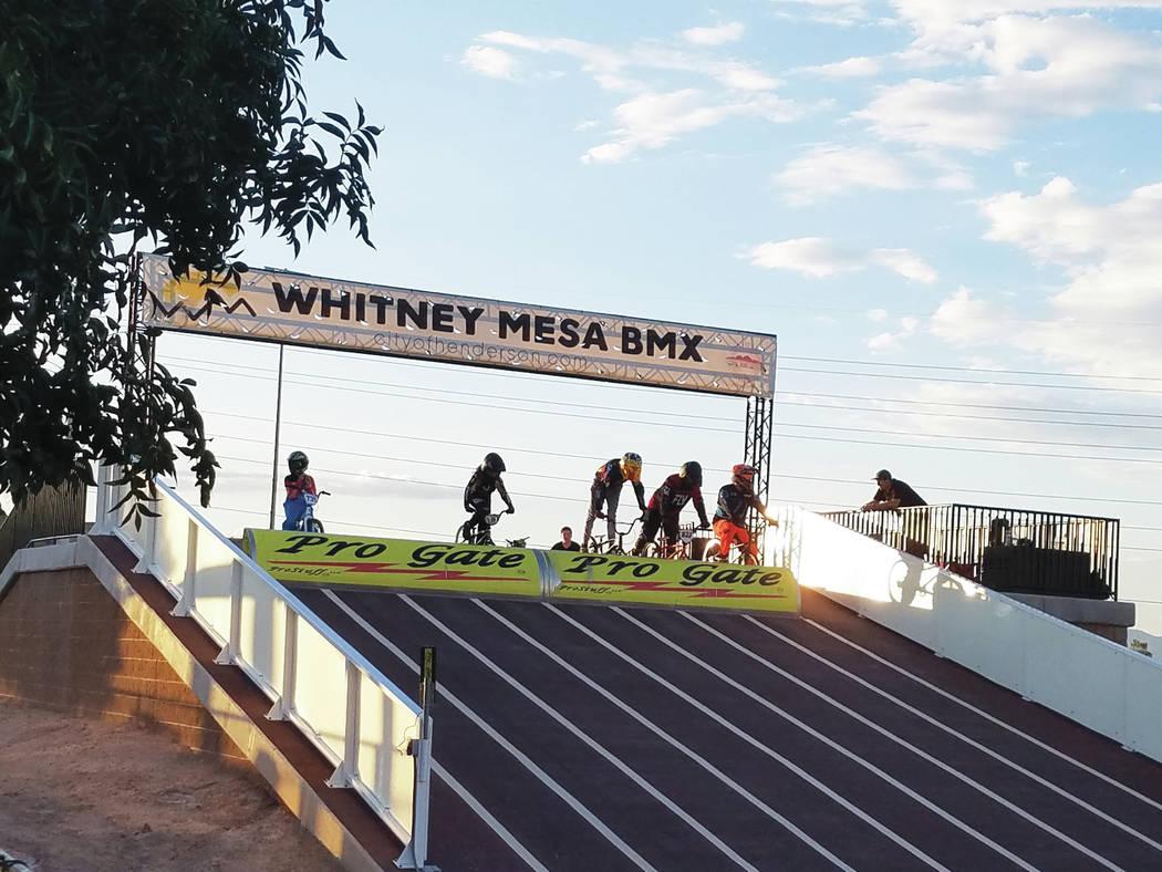 Heidi Knapp Rinella Riders line up at the Whitney Mesa Recreation Area BMX Facility.