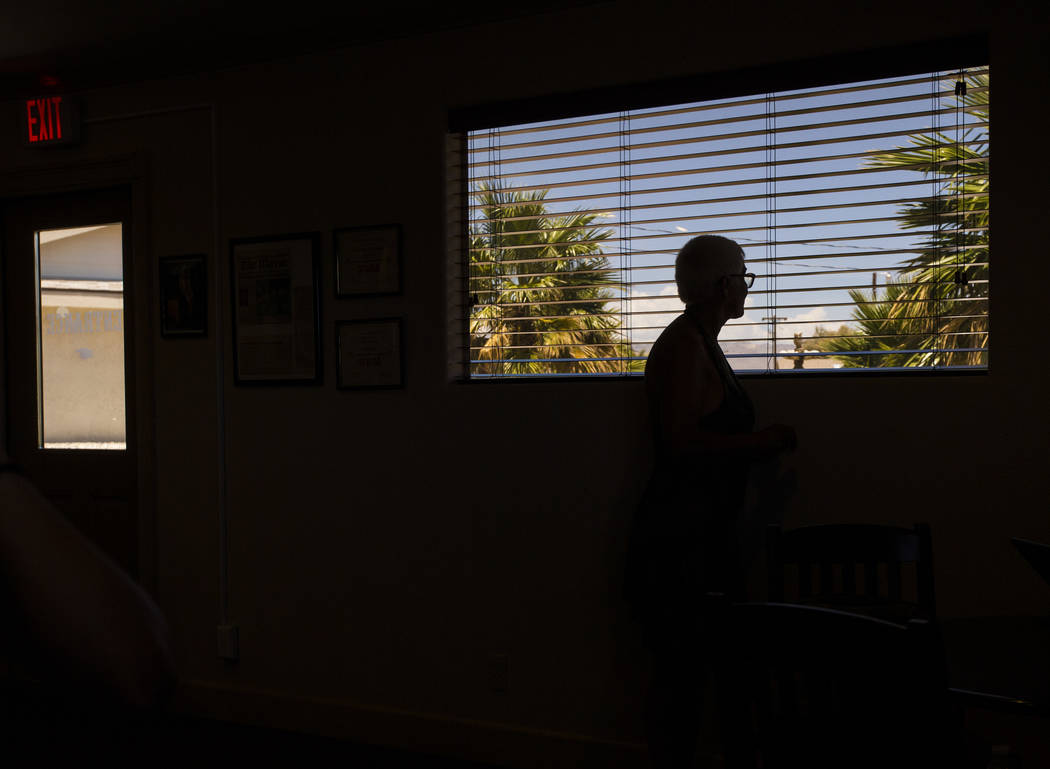 "Sonja Bandolik, the "" Madam on the Menu,"" looks out of a window at the Love Ranch brothel in Crystal, just north of Pahrump, on Friday, July 20, 2018. Chase Stevens Las Vegas Review-Jour ..."