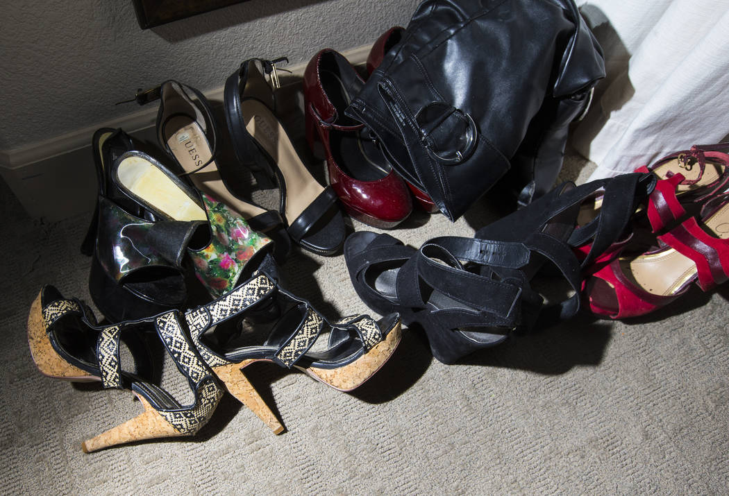 "A variety of shoes belonging to Sonja Bandolik, the "" Madam on the Menu,"" at the Love Ranch brothel in Crystal, just north of Pahrump, on Friday, July 20, 2018. Chase Stevens Las Vegas R ..."