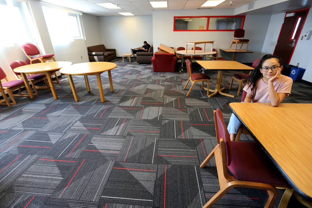UNLV senior Angelyn Tabalba in in the study lounge near her dorm room in the Tonopah Complex Thursday, July 26, 2018. K.M. Cannon Las Vegas Review-Journal @KMCannonPhoto