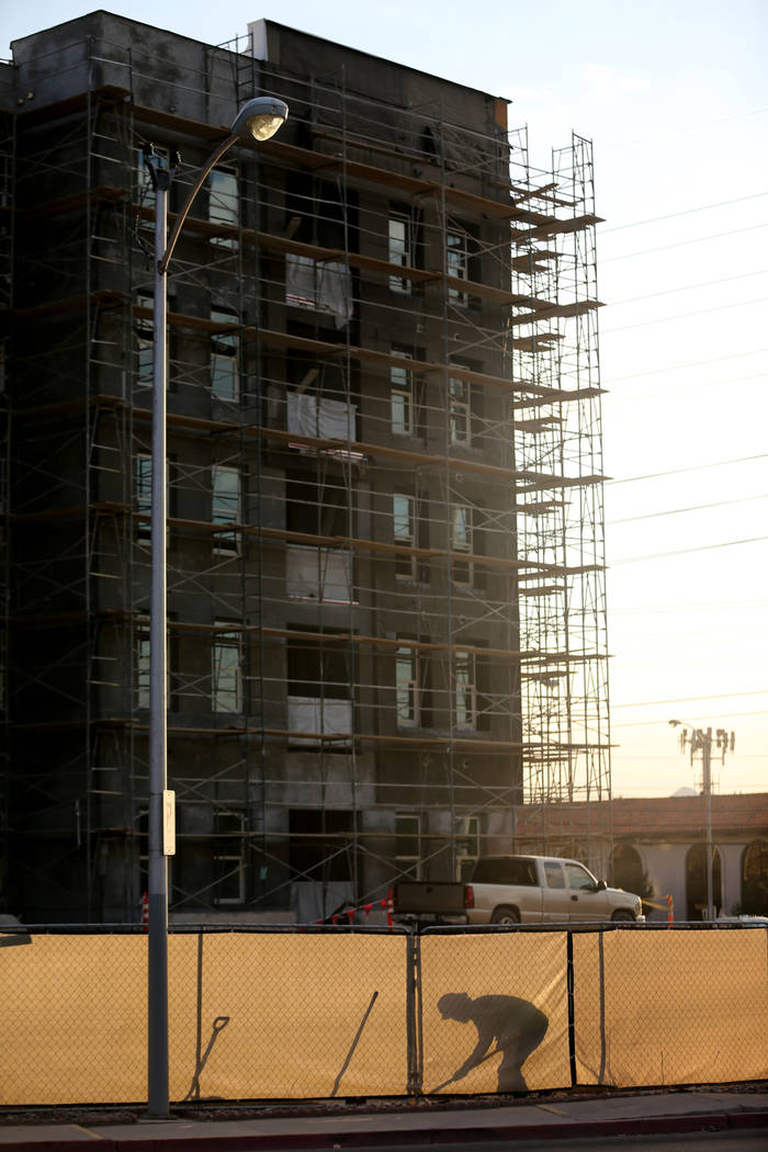 Construction continues on The Degree apartments at the corner of South Maryland Parkway and Cottage Grove Avenue on the UNLV campus Thursday, July 2, 2018. K.M. Cannon Las Vegas Review-Journal @KM ...
