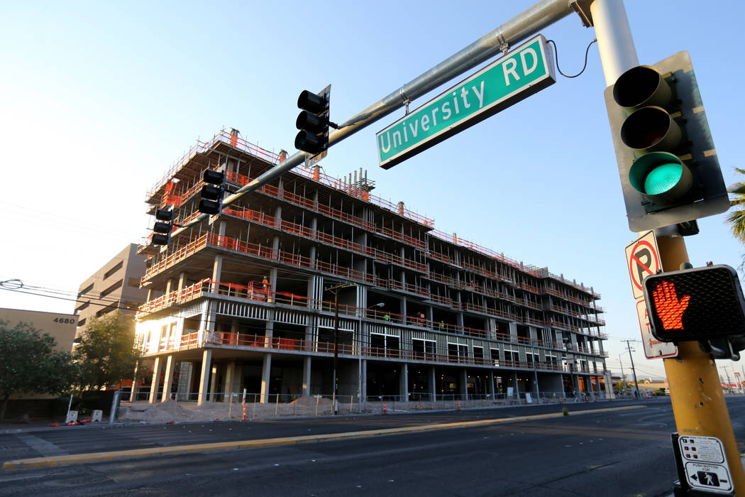Construction continues on the University Gateway project on Maryland Parkway across from UNLV Friday, July 27, 2018. K.M. Cannon Las Vegas Review-Journal @KMCannonPhoto