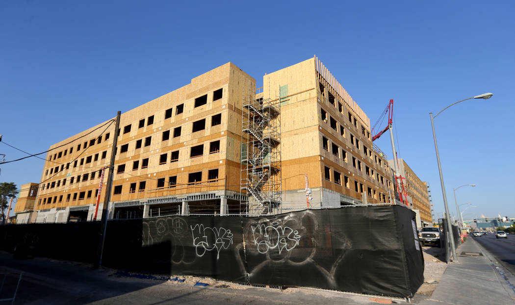Construction continues on a mixed use project at 1055 E. Tropicana Ave. across from UNLV Friday, July 27, 2018. K.M. Cannon Las Vegas Review-Journal @KMCannonPhoto