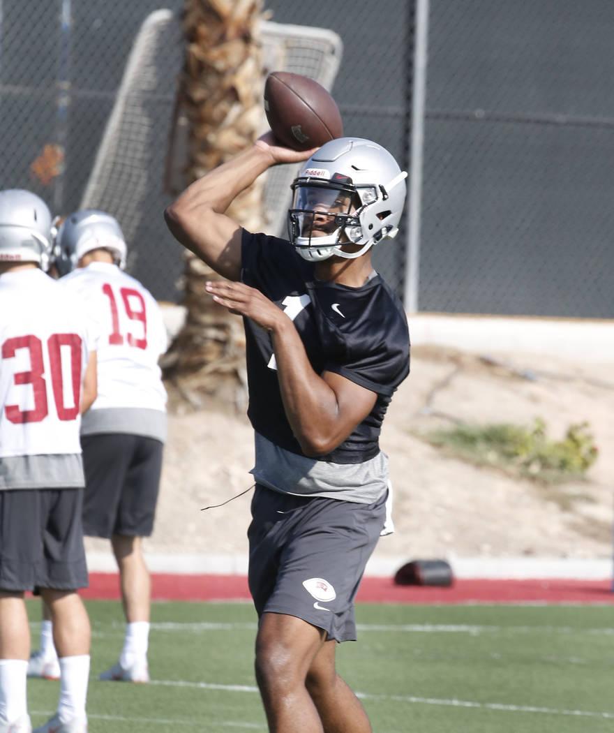 UNLV quarterback Armani Rogers throws the ball during team practice on Friday, Aug. 3, 2018, in Las Vegas. Bizuayehu Tesfaye/Las Vegas Review-Journal @bizutesfaye