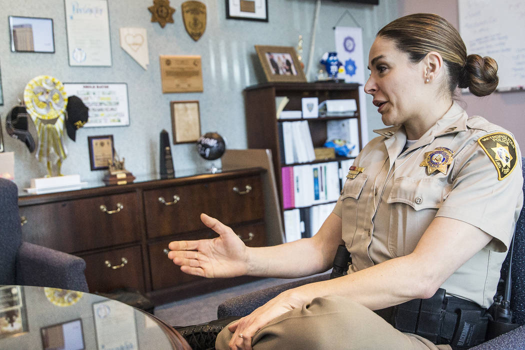 Captain Sasha Larkin discusses the challenges and successes of leading Metro's Northwest Area Command on Tuesday, April 10, 2018, in Las Vegas. Benjamin Hager Las Vegas Review-Journal @benjaminhphoto