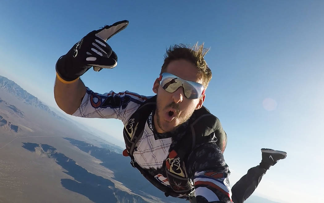 Las Vegas resident and racer instructor Matt Jaskol poses while skydiving. (Matt Jaskol)