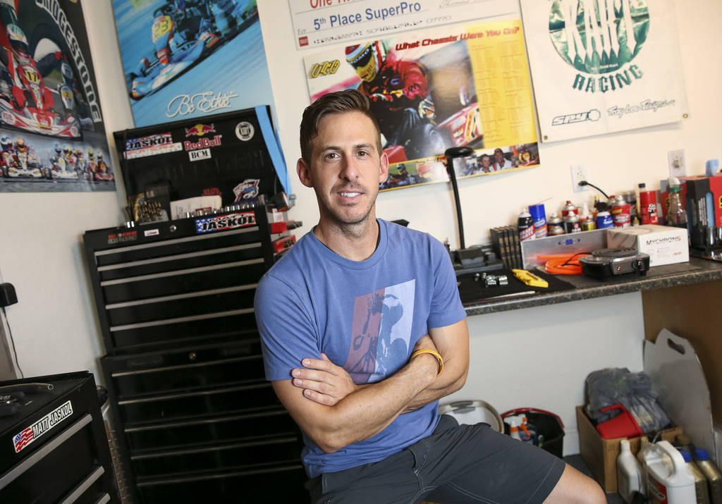 Las Vegas resident and racer instructor Matt Jaskol poses in his garage at his house in Las Vegas on Monday, July 30, 2018. Jaskol has 25 years of racing experience, is a precision driver and an a ...