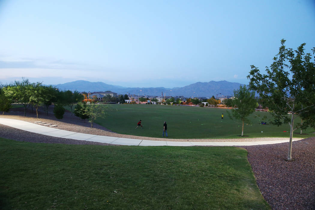 Huckleberry Park in the Providence master-planned community in Las Vegas, Monday, July 30, 2018. The Providence Master Homeowners Association is working to complete the final seven acres park expa ...