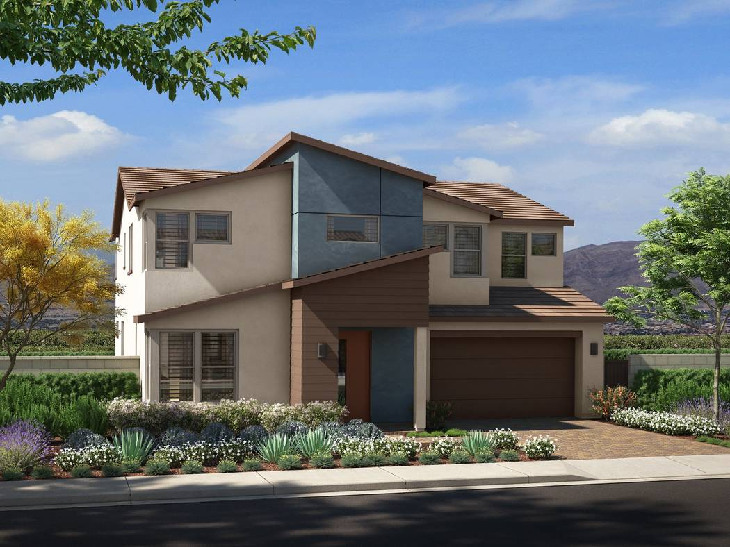 Pardee Homes will open Corterra in Henderson in late August. Shown is a rendering of Corterra Plan Three in the Nevada Living elevation. (Pardee Homes)