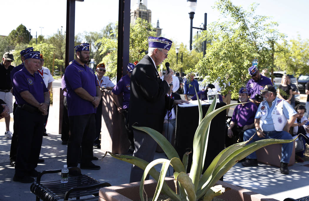 Retired U.S. Army veteran David Hugus speaks during the official opening of Purple Heart Plaza at 101 Market St., in downtown Henderson on Tuesday, Aug. 7, 2018. (Bizuayehu Tesfaye/Las Vegas Revie ...