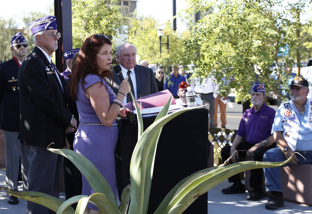 Henderson Mayor Debra March speaks during the official opening of Purple Heart Plaza at 101 Market St. in downtown Henderson on Tuesday, Aug. 7, 2018. (Bizuayehu Tesfaye/Las Vegas Review-Journal) ...