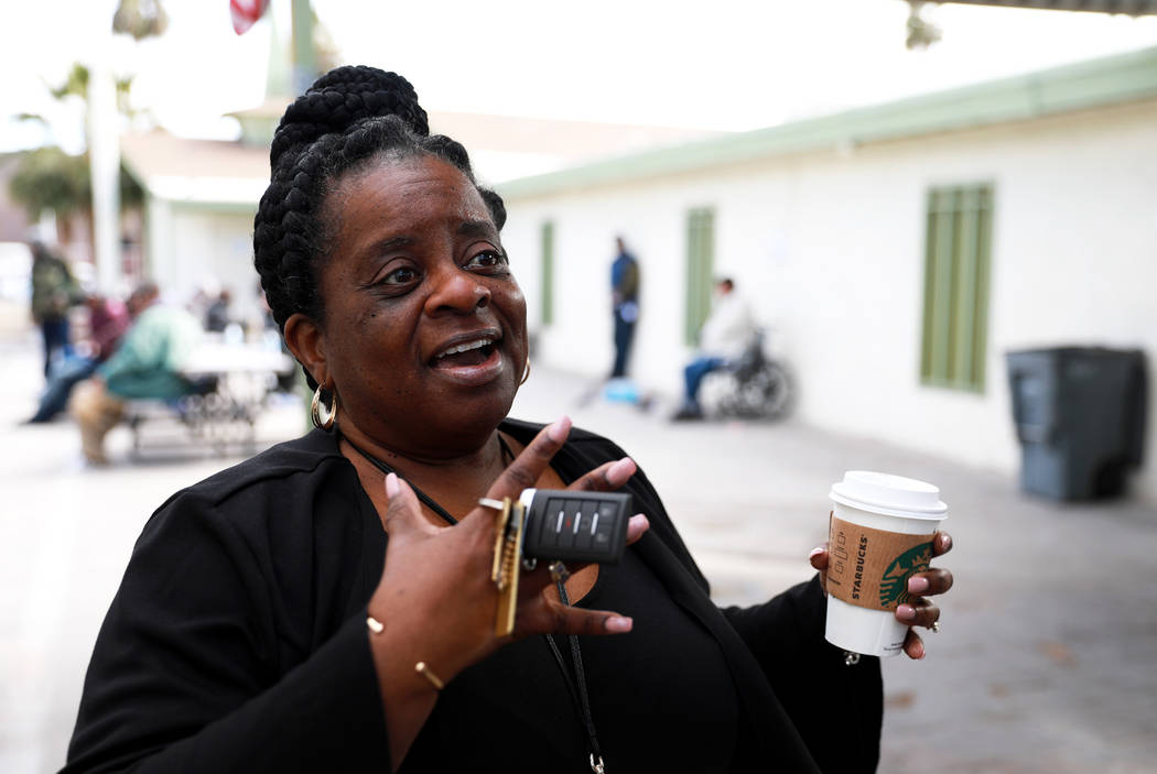 Kathi Thomas-Gibson talks about the services provided at a courtyard for the city's homeless population off of Las Vegas Boulevard and Foremaster Lane in Las Vegas on Thursday, March 1, 2018. (Las ...