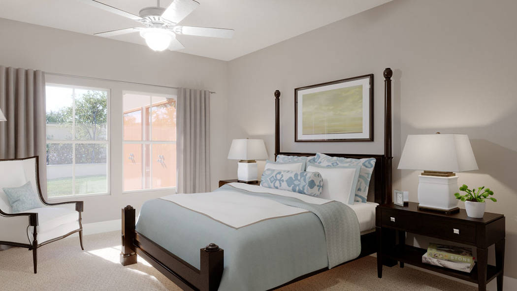 A bedroom in Edward Homes' Coronado condominiums in Summerlin. (Edward Homes)