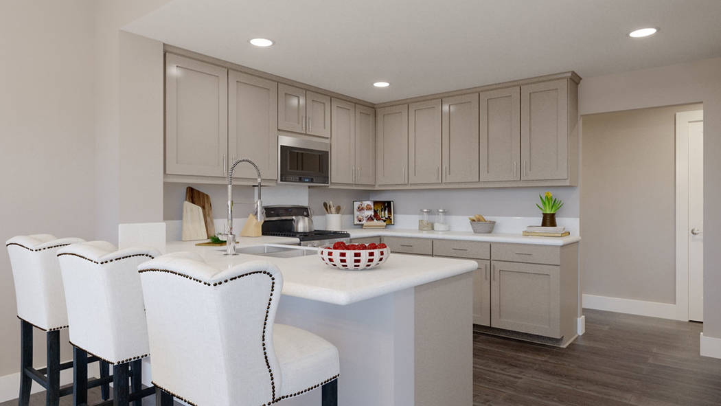 The kitchen in Edward Homes' Coronado condominiums in Summerlin. (Edward Homes)