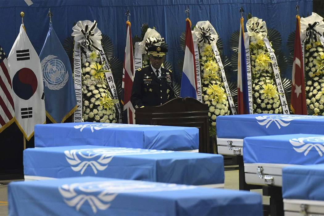 U.S. General Vincent Brooks, commander of the United Nations Command, U.S. Forces Korea, and Combined Forces Command, speaks during a repatriation ceremony for the remains of U.S. soldiers killed ...