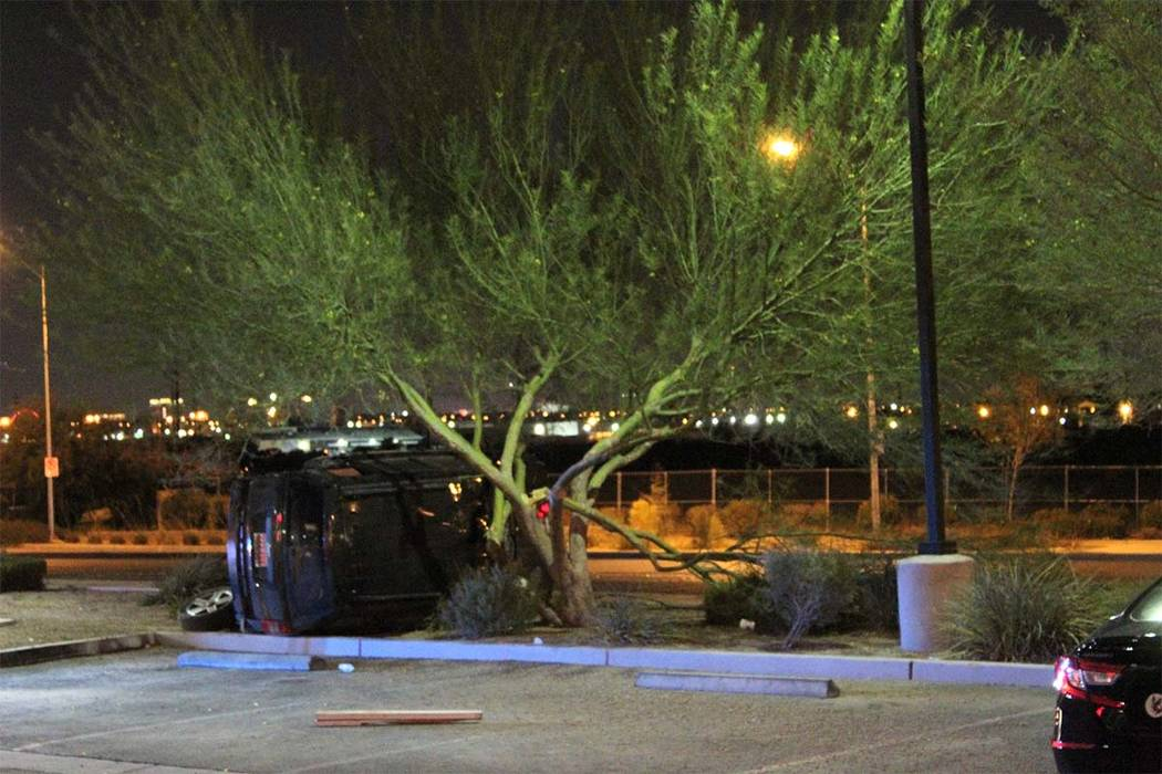 Las Vegas police say one vehicle was involved in a rollover on Wednesday, Aug. 1, 2018, in the east valley. (Max MIchor/Las Vegas Review-Journal)