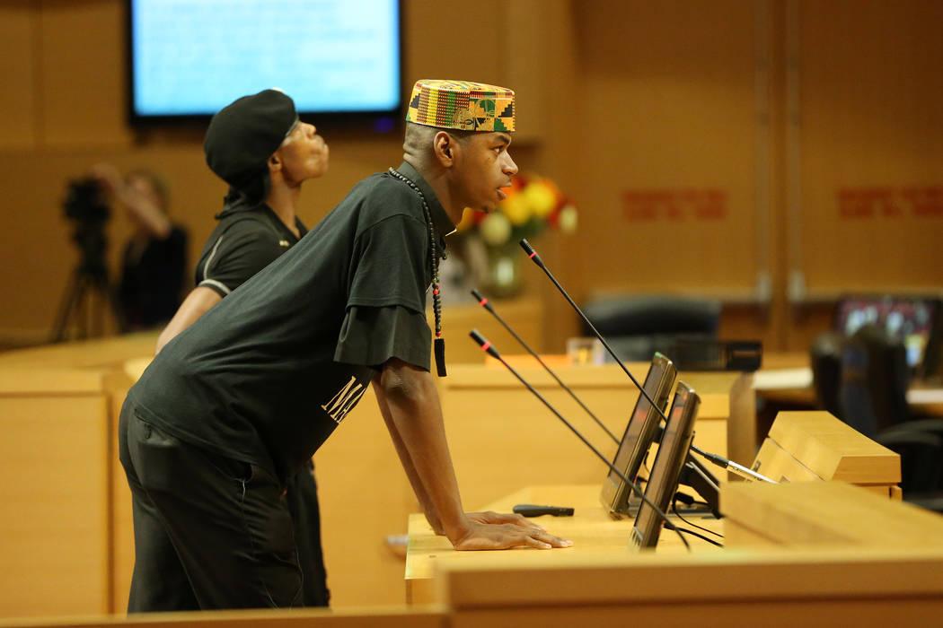 Minister Stretch Sanders speaks during public comment in a council meeting at Las Vegas City Hall in Las Vegas, Wednesday, Aug. 1, 2018. Erik Verduzco Las Vegas Review-Journal @Erik_Verduzco