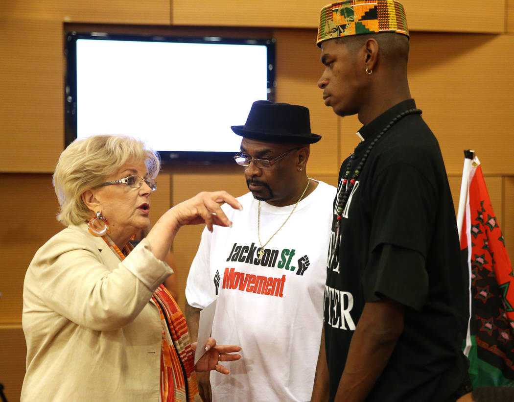 Las Vegas Mayor Carolyn Goodman, from left, greets Lester Johnson and Stretch Sanders during a council meeting at Las Vegas City Hall on Wednesday, Aug. 1, 2018. Erik Verduzco Las Vegas Review-Jou ...